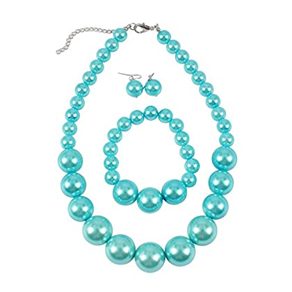 KOSMOS-LI Women's Large Big Simulated Pearl Statement 19″ Necklace Bracelet and Earrings...