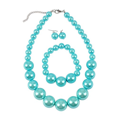 KOSMOS-LI Women's Large Big Simulated Aqua Pearl Statement 19