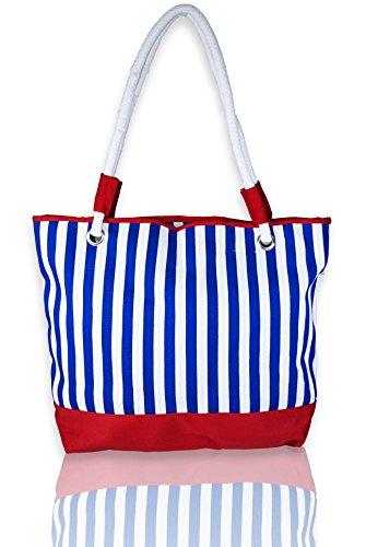 Basico Beach Tote Bag with Rope Handles (Blue Stripe (Rope Stripe)