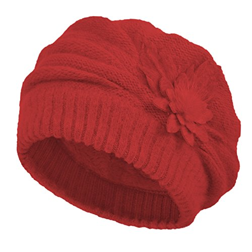 Janey&Rubbins Women's Winter Hat French Beret Solid Floral Decoration Knit Beanie Cap (Burgundy)