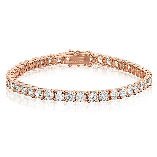 NYC Sterling 4MM Sterling Silver Round Cubic Zirconia Tennis Bracelet, 7.5 Inches (Rose-Gold-and-Sterling-Silver)