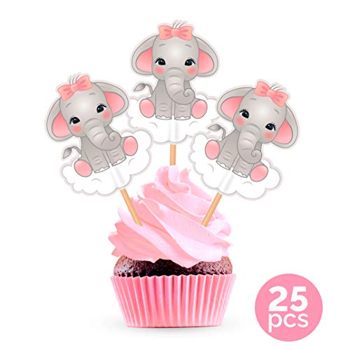 Pink Elephant Cupcake Toppers Cake Picks - Girl Baby Shower Decorations Supplies - 25 -