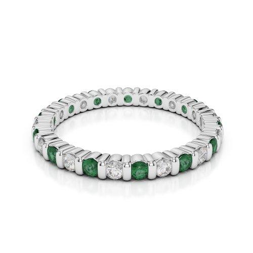 Or blanc 18carats 1/2ct G-H/VS sertie de diamants ronds découpé Émeraude et bague éternité Agdr-1092