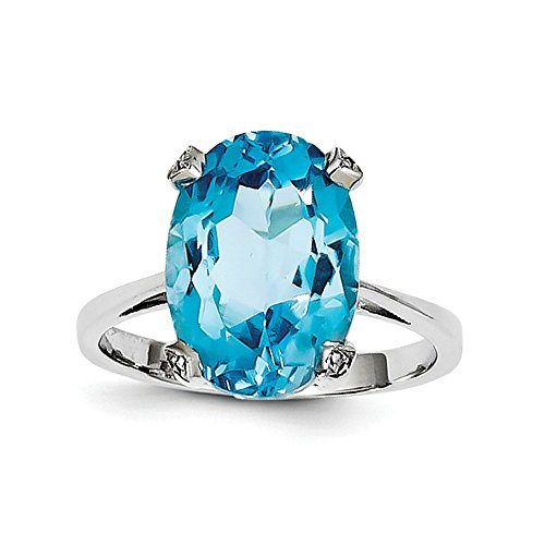Sterling Silver Rhodium Light Swiss Blue Topaz Diamond Ring by CoutureJewelers
