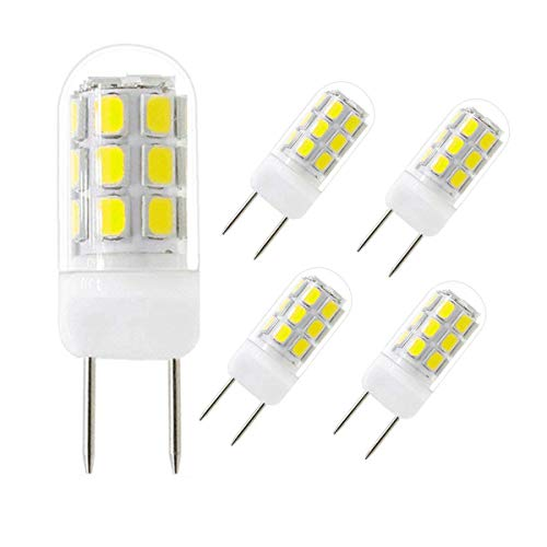 G8 LED Light Bulb, G8 GY8.6 Bi-Pin Base LED Bulbs,LED G8 120V 35W Halogen Replacement Bulb for Under Counter Kitchen Lighting, Under-cbinet Light, Puck Light (Daylight White 6000K,5 Pack)