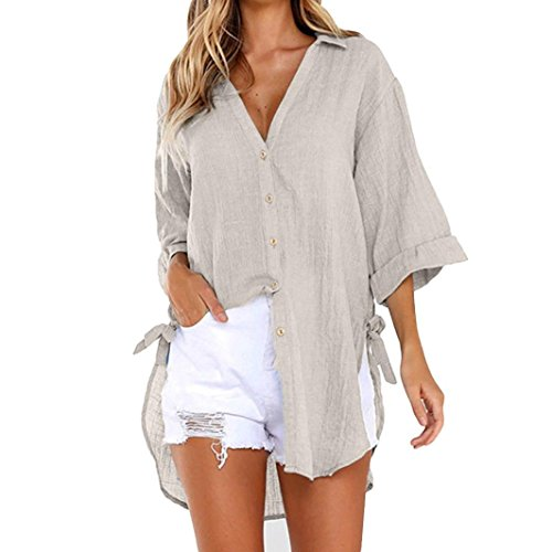 - Women Loose Button Long Sleeve Shirt Dress Cotton Linen Blouse Casual Solid Top (M, Khaki)