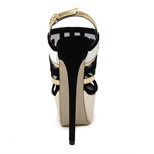 L@YC Frauen High Heels Schuhe Zauber Farbe versteckt Tage High Heels 17cm wasserdichte Tisch Party Schuhe Black