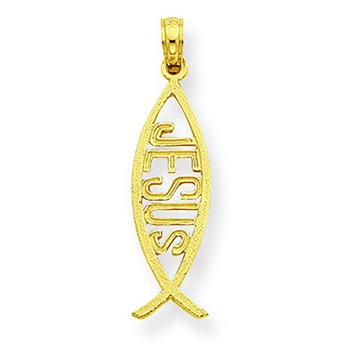 14K Yellow Gold Ichthus Fish with Jesus Charm Pendant ()