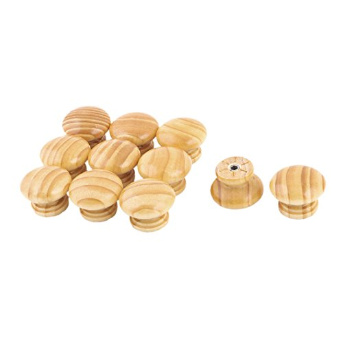uxcell Wood Dormitory Mushroom Design Door Dresser Handle Pull Knob 11pcs Light Brown by uxcell