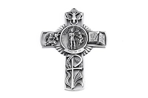 Pewter Catholic Saint St Sebastian Pray for Us Wall Cross, 5 Inch