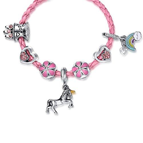 Pink Unicorn Birthday Charm Bracelet Jewelry Gifts for Girls (6.5) by Doctor Unicorn (Image #1)