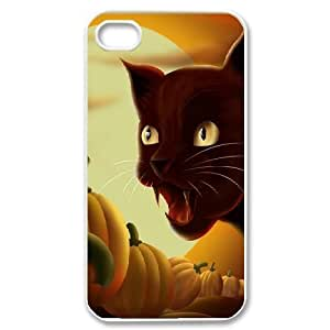 For Apple Iphone 4/4S Case Cover , Girl Design Screaming Black Cat Halloween For Apple Iphone 4/4S Case Cover {White}