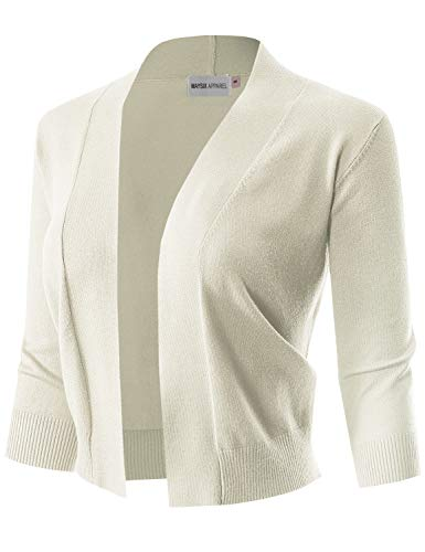 MAYSIX APPAREL 3/4 Sleeve Solid Open Bolero Cropped Cardigan, Msg1-ivory, Large