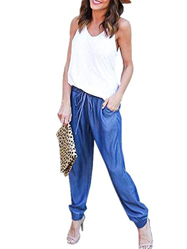 Con High Autunno Monocromo Ragazza Tempo Due Basic Jeans Libero Marine Moda Primaverile Tasche Waist Casual Eleganti Dei Pants Jogging Pantaloni Donna S7qP6x