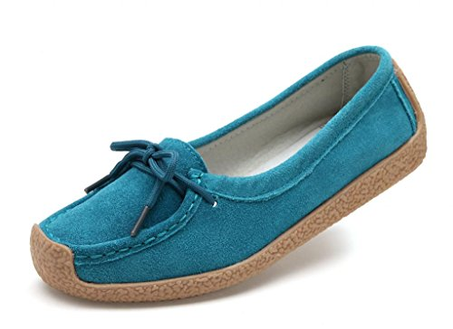 SUNROLAN Womens Suede Leather Lace-up Slip-ons Loafers Moccasins Work Shoes 9802 Norse Blue eTOuQ9P7