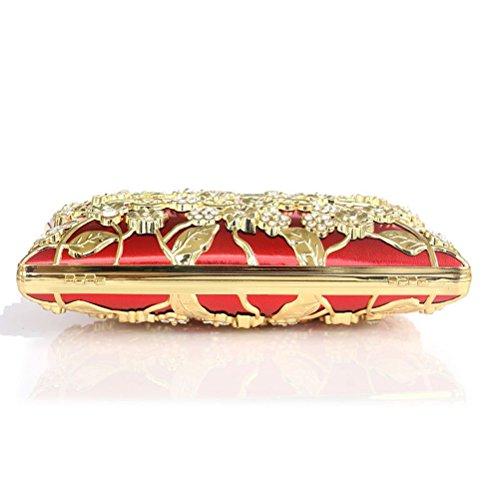 De Metal Mujeres De Bolsos Luoem Bolsos rojo Diamantes La Perforado Banquetes Noche Bolsos Las Brillante Novia Para De Imitación Para aIqqfP