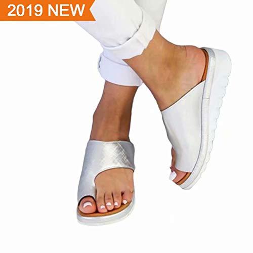 WAQIA Oh 2019 New Womens Platform Sandals Casual Toe Ring Sandal Flats Summer Flip Flops Anti-Slide Sandals