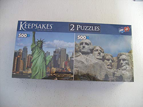 - TCG 2 Puzzles Each with A Keepsakes Box Statue of Liberty-Mount Rushmore 500 Pieces Each Sure Lox