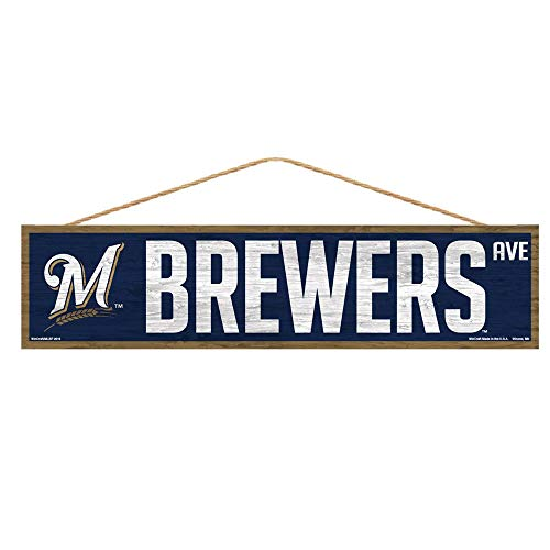WinCraft MLB Milwaukee Brewers SignWood Avenue Design, Team Color, 4x17