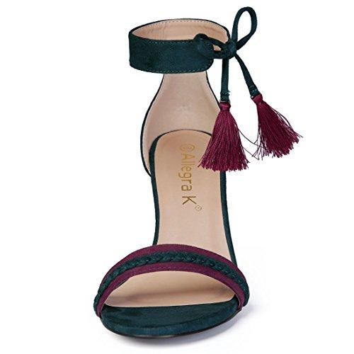 Allegra K Womens Contrast Color Ankle Tie Sandals Blackish Green cezya