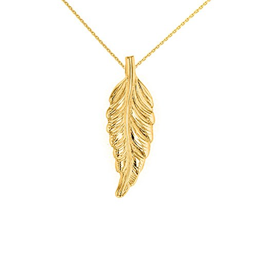 """Solid 14k Yellow Gold Bohemia Leaf Feather Pendant Necklace, 18"""""""