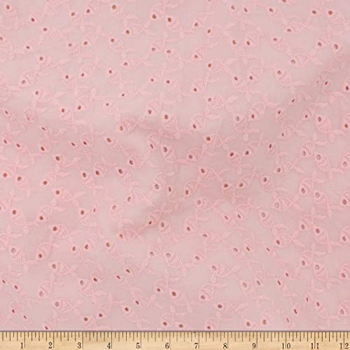 Telio Gold Fish Cotton Eyelet Fabric, Rose, Fabric By The - Fabric Cotton Rose