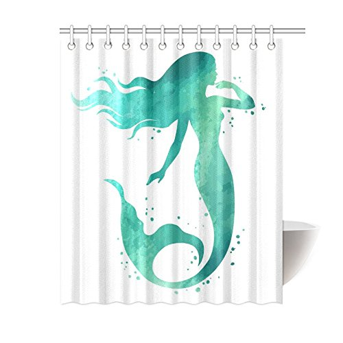 InterestPrint Watercolor Merimaid Silhouette Polyester Fabric Shower Curtain Bathroom Sets Home Decor 60 X 72 Inches