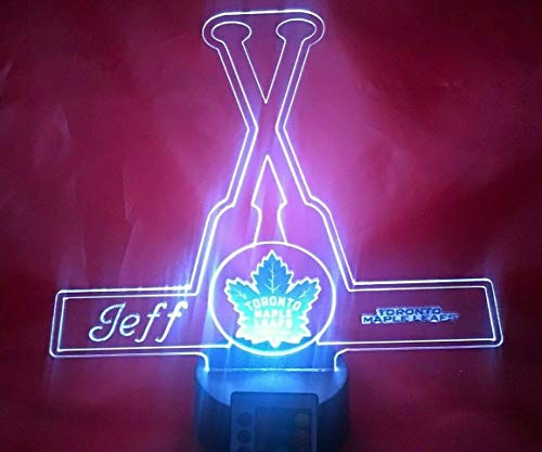 Toronto Beautiful Handmade Acrylic Personalized Maple Leafs Hockey Sticks Light Up Light Lamp LED, Our Newest Feature - It's WOW, Comes With Remote 16 Color Options, Dimmer, Free Engraving, Great ()
