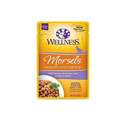 Wellness Healthy Indulgence Natural Grain Free Wet Cat Food Variety Pack, 3-Ounce Pouches (4) Morsels Chicken & Chicken Liver, (4) Morsels Turkey & Duck, (4) Morsels Chicken & Turkey (12 Pack Pouches)