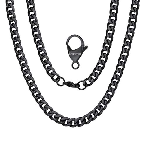 Stainless Steel Fancy Black Plated Cuban Chain Engraved Name Necklace for Men ()