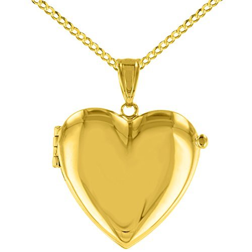 Solid 14K Yellow Gold Heart Shaped Locket Charm Pendant Necklace, 22'' by JewelryAmerica