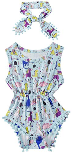 3-6 Months Toddler One-Pieces Round Neck Short Sleeve Baby Jumpers Cartoon Unicorn Printed Bodysuits Bright Colors Pattern Design Softy Infant Playsuits 2 Pcs Set