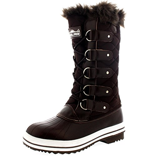 Polar Products Womens Snow Boot Nylon Tall Winter Fur Lined Snow Warm Waterproof Rain Boot - Brown - 9-40 - CD0027 by Polar Products