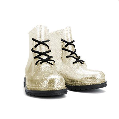 Chimica Da Donna Caviglia Flat Jelly Martin Rain Boots Gold