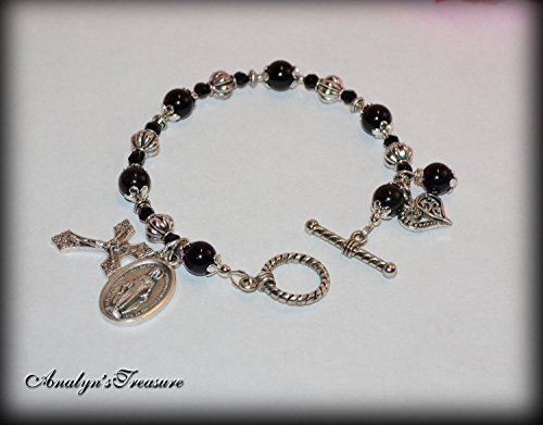 Miraculous Mary Rosary Bracelet in Black Onyx, Rosary Bracelet, Onyx Bracelet, Onyx Rosary, Black Onyx or Choose Other Saint, Charm and Wrist Size