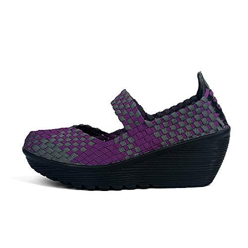 tamaño Cuña Tejer talón Suave Púrpura y Entrenadores Rojo EU Mujeres Color Transpirable 40 Qiusa Zapatos BqCxZ