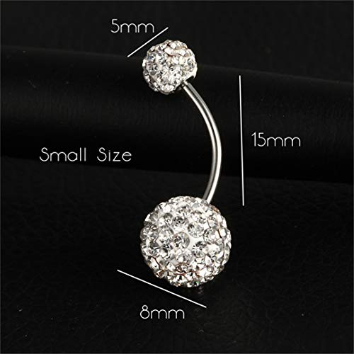 Trendy Ball White Crystal Navel Ring Stainless Steel Piercing Belly Button Rings Body Fashion Jewelry Summer Style Women EJLA416