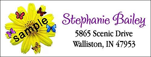 tkniftylabel Sunflower & Butterflies #24 Laser Return Address - Sunflowers 24h
