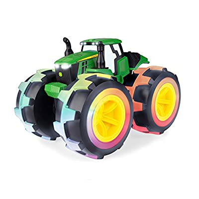 John Deere Monster Treads Deluxe Lightning Wheels Tractor: Toys & Games