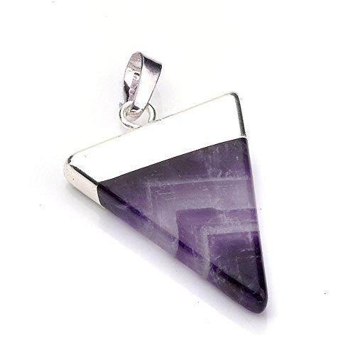 Top Plaza Silver Plated Pyramid Triangle Shaped Healing Energy Pointed Chakra Crystal Gemstone Pendant Necklace, 20 Inches (Amethyst)