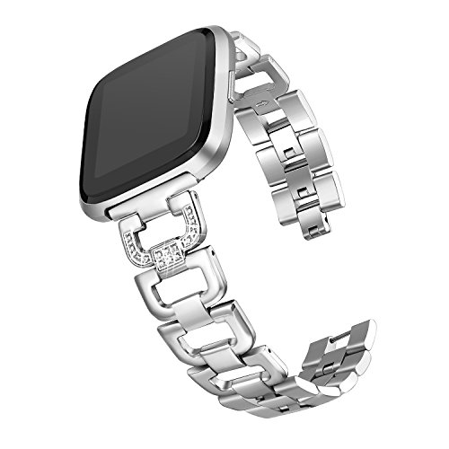 bayite Bling Bands Compatible Fitbit Versa Watch, Stainless Steel D-Link with Rhinestones, Silver 5.5 - 8.1