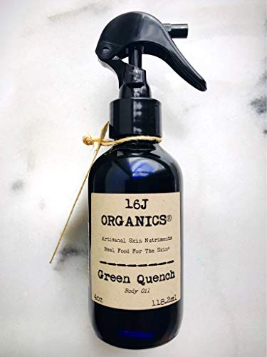"""Body Oil Moisturizer, Organic 100% Natural, Anti-Aging, Anti-Wrinkle, Vitamin Antioxidant Rich-Serum, For Skin, Face, Hair, Scalp.""""Green Quench"""" Is Artisanal - Handmade Of All Food Grade Ingredients"""