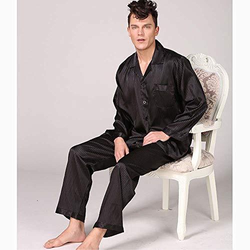 Nero Huifang Seta Casa Strisce Lunghe Sciolto Xxxl A E Nero Grandi Rosso Uomo Dimensioni Pigiama Vestiti Autunno Primavera Maniche colore Pantaloni La Di Per n8vwrT8SqO
