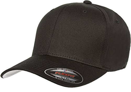 - Flexfit/Yupoong Men's Cotton Twill Fitted Cap, Black, Small/Medium