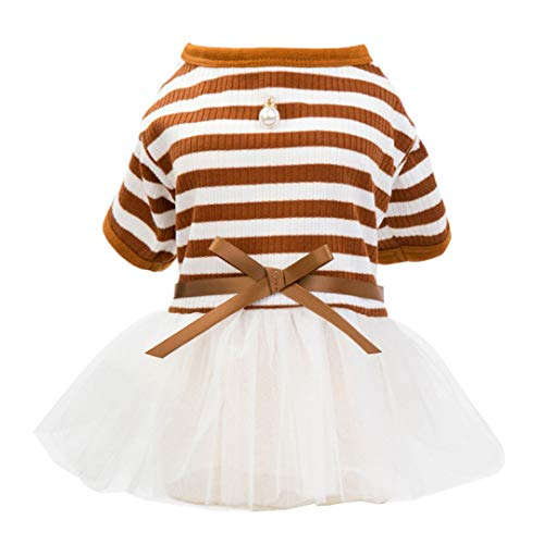 YOTATO Navy Coffee Short Sleeve Tshirt Lace Striped Bow Ribbon Dog Dress Summer Pet Apparel Puppy Clothing with ()