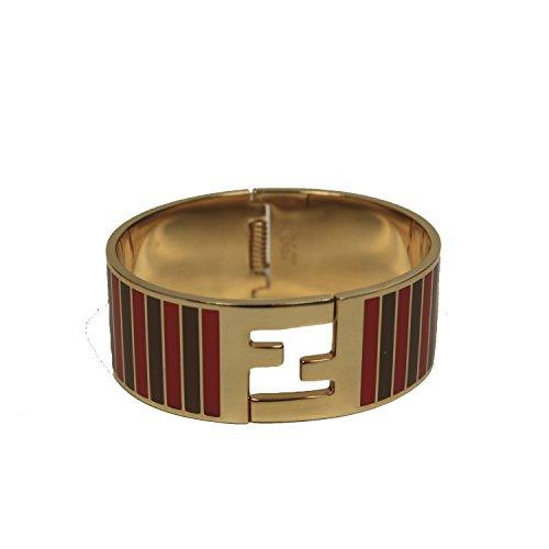 Fendi FF Gold Palladium Pequin Red & Brown Striped Click Clack Bracelet 8AG137 F0K4R