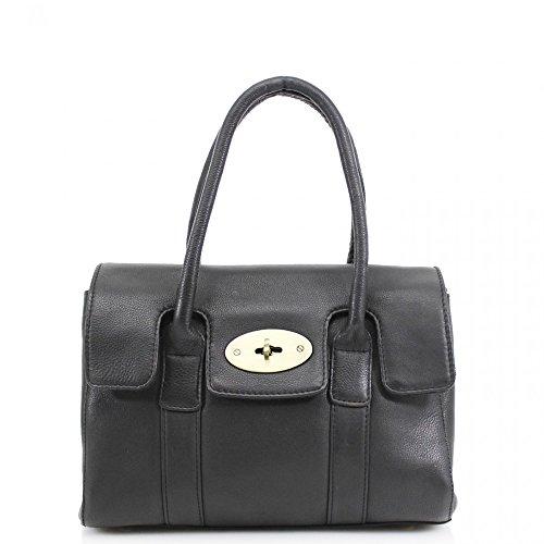 LeahWard® Real Leder Damen Große Größe Handtaschen Genuine Ledertasche Schwarz Leder H37cm x W28cm x D13cm