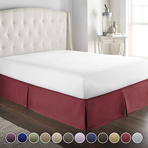 - Hotel Luxury Bed Skirt/Dust Ruffle 1800 Platinum Collection-14 inch Tailored Drop, Wrinkle & Fade Resistant, Linens (Full, Burgundy)