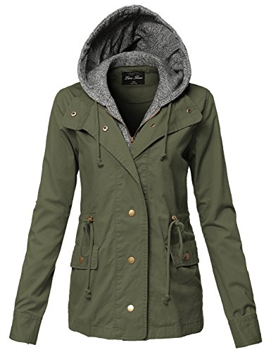 Luna Flower Plus Size Warm Two Tone Hoodie Mixed Utility Jackets 125-Olive US 1XL (Leisure Suits For Sale)