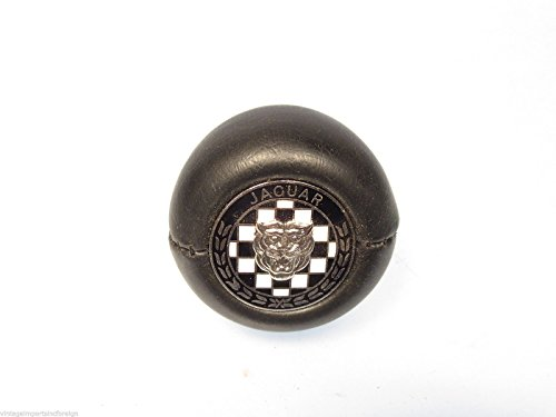Amco Jaguar XKE 6 Cylinder New Leather Grained Gear Shift Knob w/Jaguar Logo by Amco